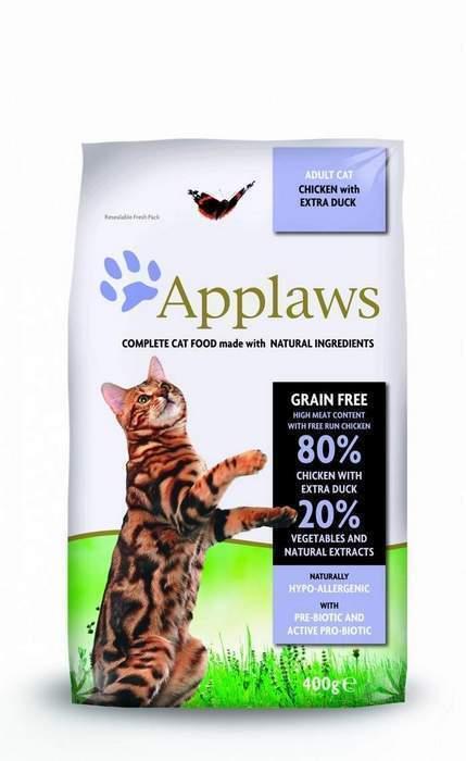 Applaws корм для взрослых кошек всех пород, беззерновой, курица, утка и овощи 7,5 кг