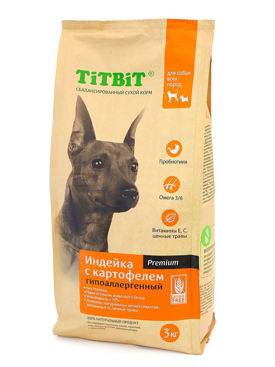 TiTBiT Сухой корм для собак всех пород  гипоаллергенный  индейка с картофелем (9116), 3,000 кг, 40910