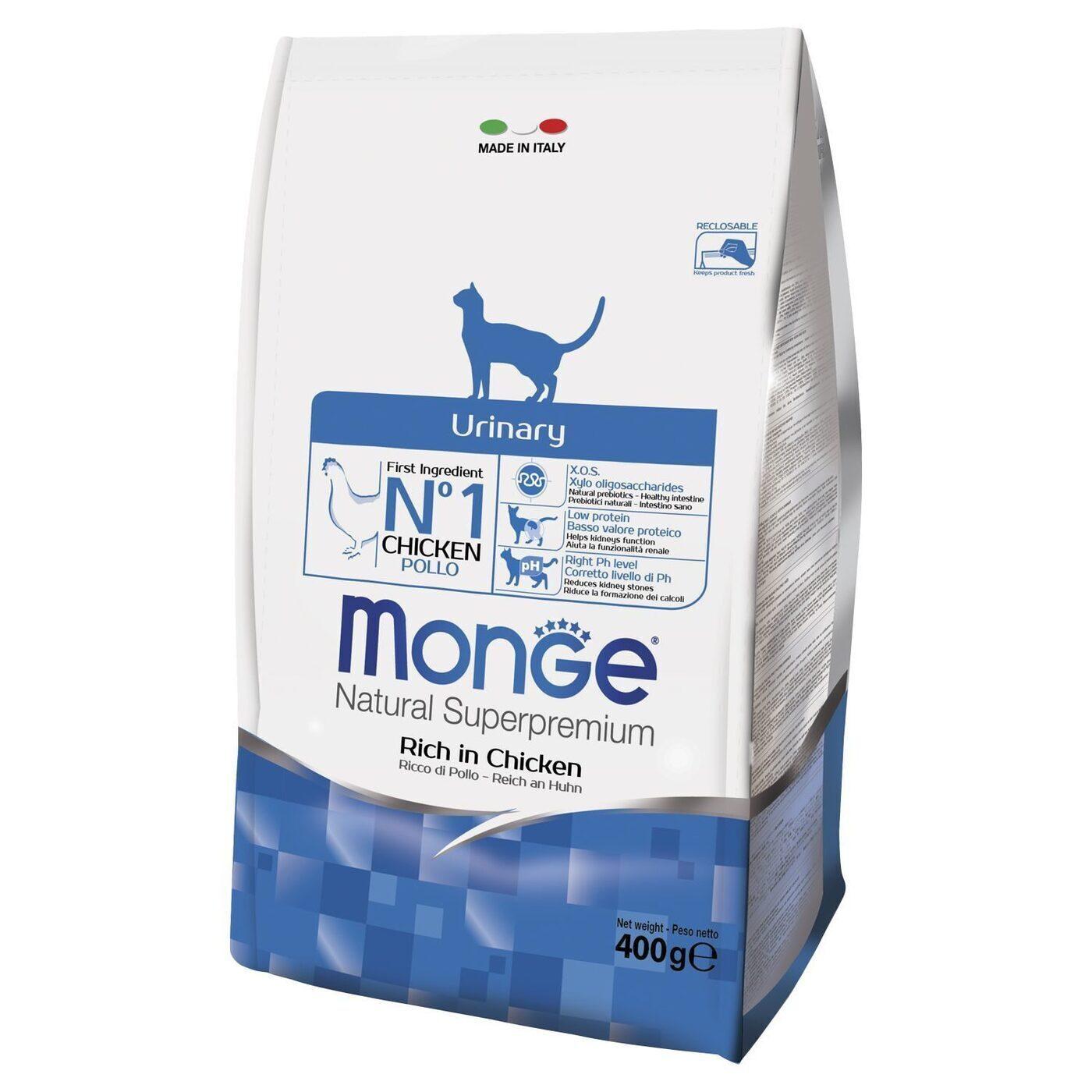 Monge Cat Urinary корм для кошек всех возрастов и пород, профилактика МКБ, курица и рис 400 гр, 900100816