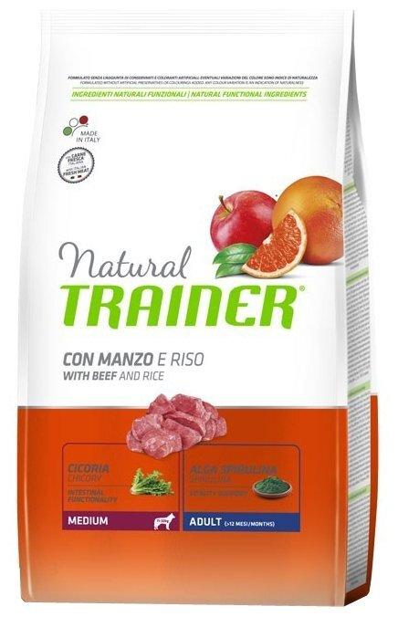 Trainer Natural корм для взрослых собак средних пород с говядиной и рисом 12 кг