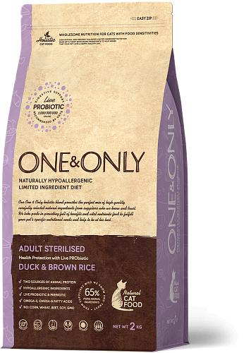 One & Only корм для стерилизованных кошек всех пород, утка с рисом 2 кг
