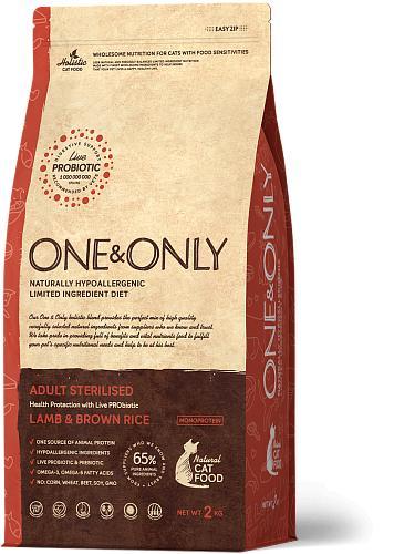 One & Only корм для стерилизованных кошек всех пород, ягненок с рисом 2 кг