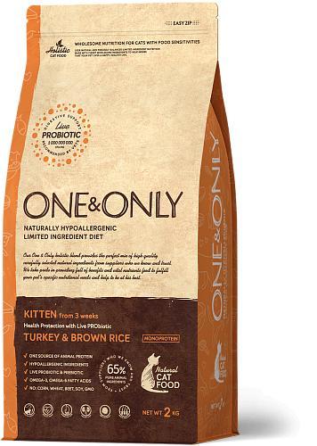 One & Only корм для котят всех пород, индейка с рисом 2 кг
