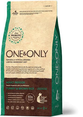 One & Only корм для кошек всех пород, живущих в помещении, индейка с рисом 2 кг