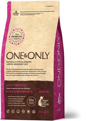One & Only корм для кошек всех пород, живущих в помещении, утка с рисом 2 кг