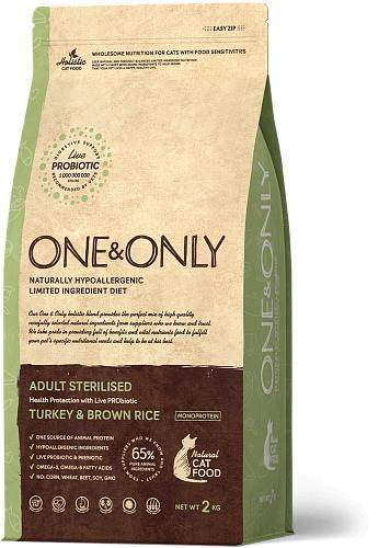One & Only корм для стерилизованных кошек всех пород, индейка с рисом 2 кг