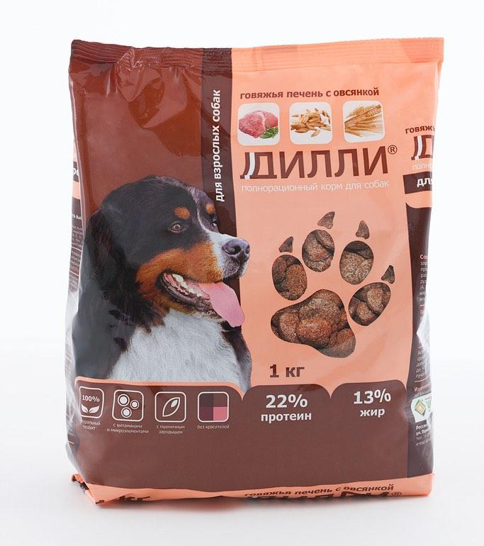 Корм для собак Дилли (говяжая печень с овсянкой) 16 кг