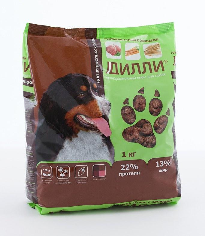 Корм для собак Дилли (говяжий гуляш с овощами) 16 кг