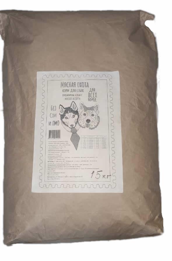 Корм для собак Мясная охота Премиум класс Говядина, 15 кг