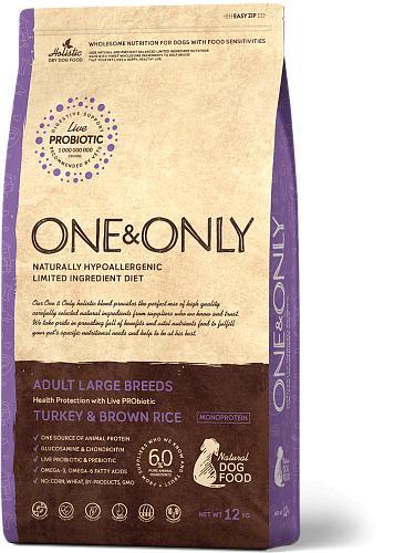 One & Only корм для взрослых собак крупных пород, индейка с рисом 12 кг