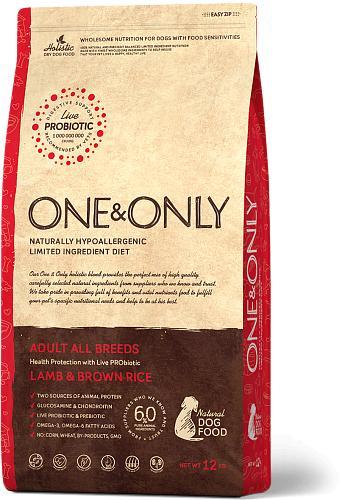 One & Only корм для взрослых собак всех пород, ягненок с рисом 1 кг