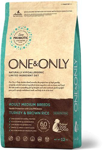 One & Only корм для взрослых собак всех пород, индейка с рисом 12 кг