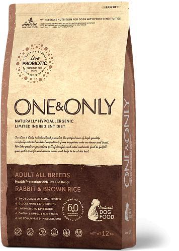 One & Only корм для взрослых собак всех пород, кролик с рисом 12 кг