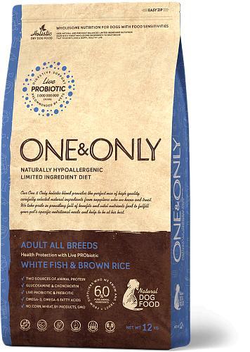 One & Only корм для взрослых собак всех пород, белая рыба с рисом 1 кг