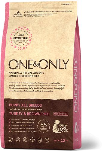 One & Only корм для щенков всех пород, индейка с рисом 12 кг