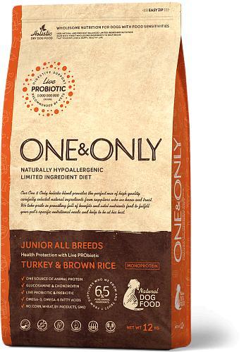 One & Only корм для юниоров всех пород, индейка с рисом 1 кг