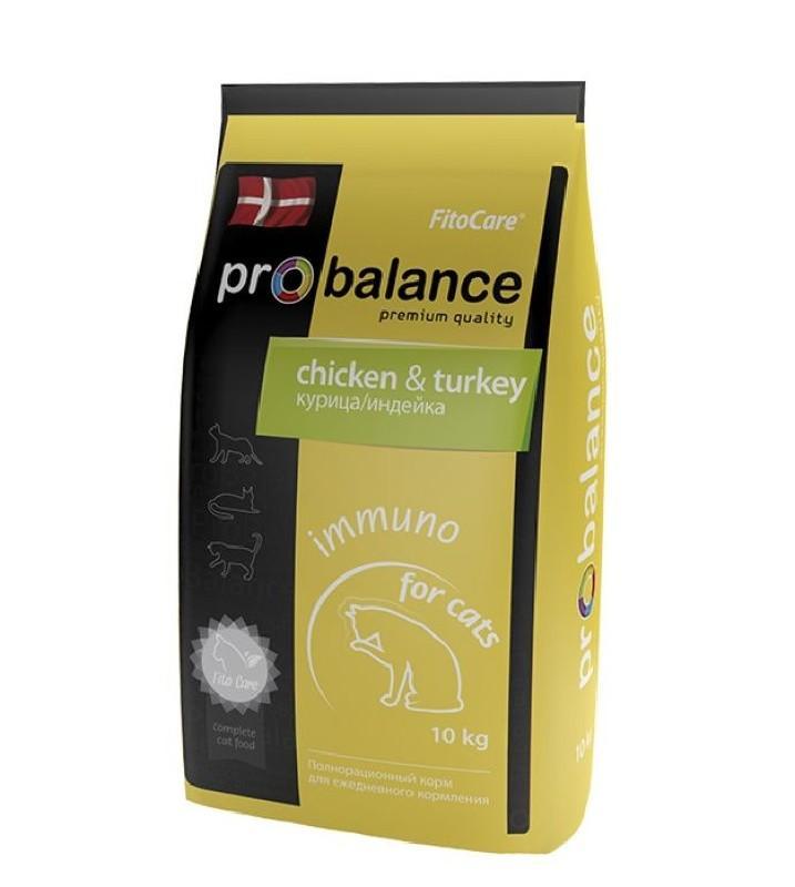 ProBalance корм для взрослых кошек всех пород, поддержка иммунитета, курица и индейка 10 кг