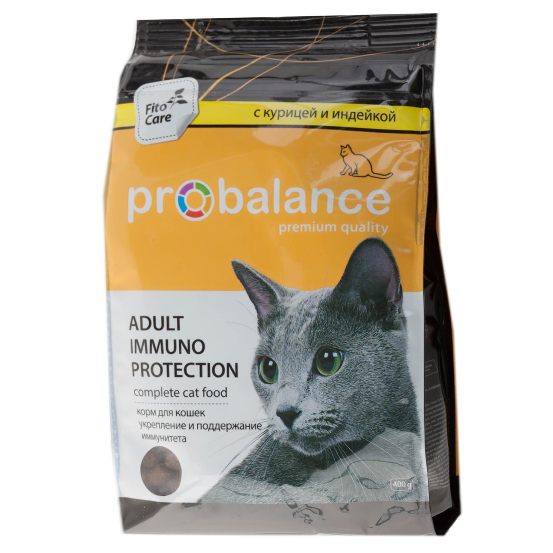 ProBalance корм для взрослых кошек всех пород, поддержка иммунитета, курица и индейка 400 гр