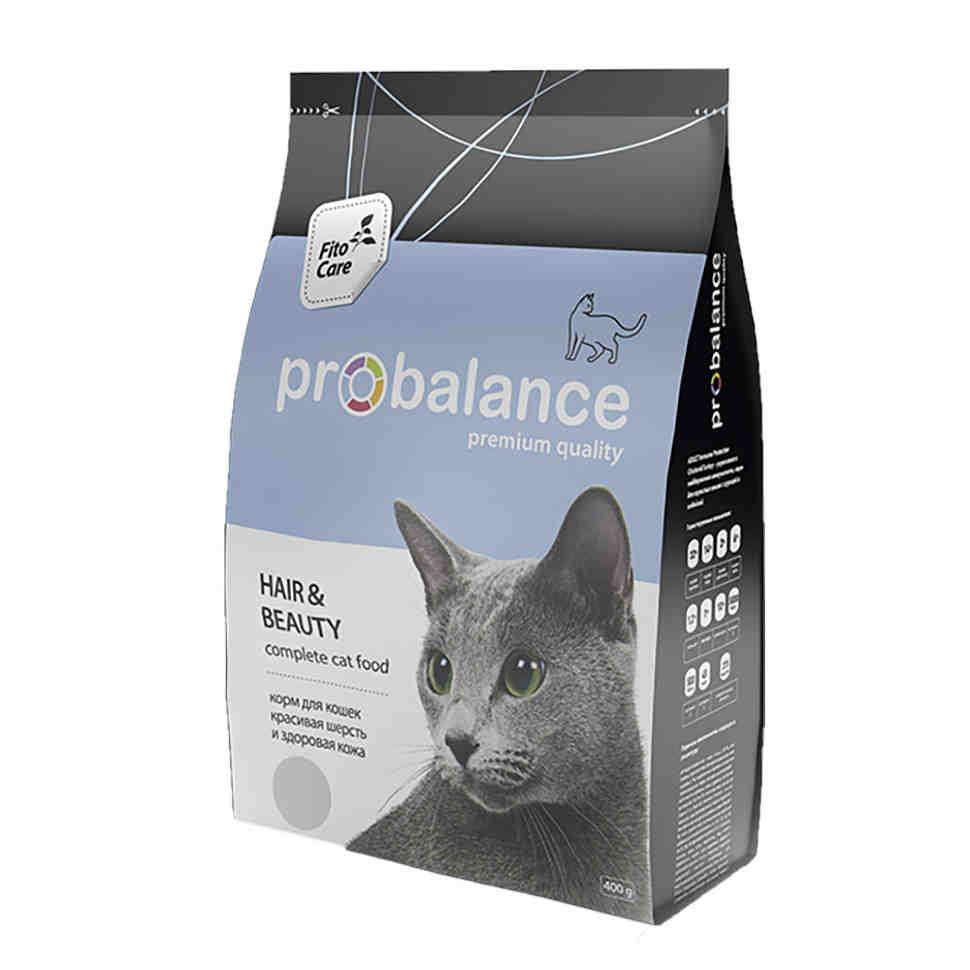 ProBalance корм для взрослых кошек всех пород, красивая шерсть и здоровая кожа 400 гр