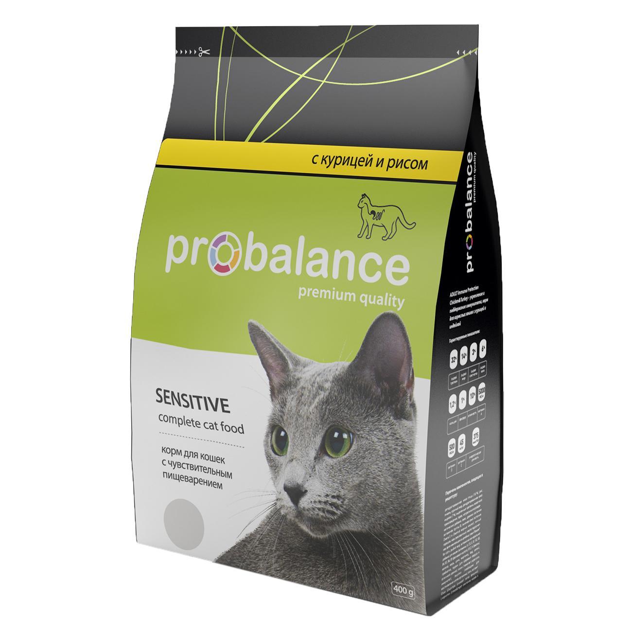 Probalance Сухой корм для кошек с чувствительным пищеварением, с курицей и рисом 38 PB 194, 1,800 кг, 54846