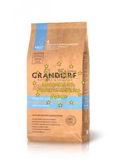 Grandorf корм для взрослых собак всех пород, белая рыба с бурым рисом 1 кг